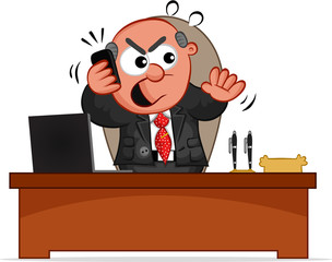 Business Cartoon - Boss Man Angry on Phone