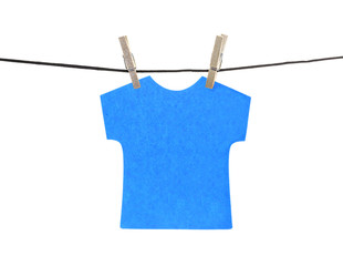 Flat blue T-shirt sticky note hanged, isolated