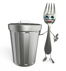 Fork character with dustbin