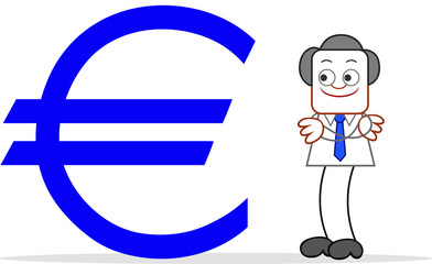 Cartoon Businessman Happy With Euro