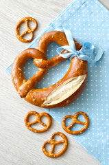 Pretzel on blue tablecloth