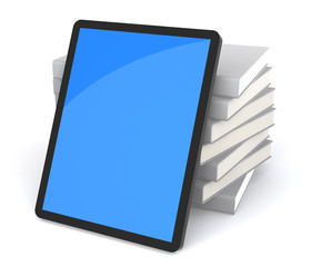 Stack of Books in Tablet PC