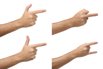 Four different hand signs. Isolated on white background