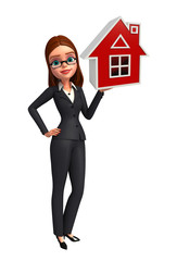 Young Business Woman with home