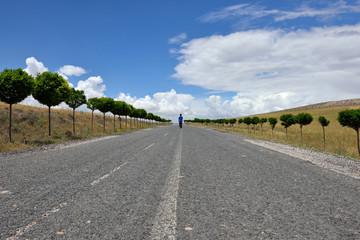 little boy walking alone on the road