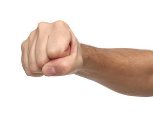 Hand signs. Punch fist isolated on white background