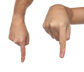 Hand signs. Male finger pointing down. Isolated