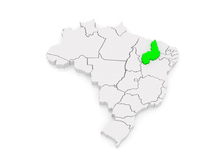 Map of Piaui. Brazil.