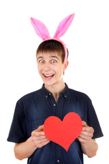 Teenager with Bunny Ears and Heart