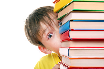 Surprised Kid behind the Books