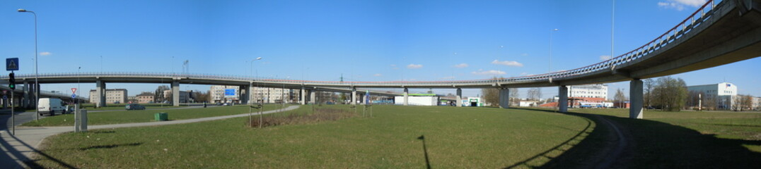 Panorama of an overpass (Riga, Latvia)
