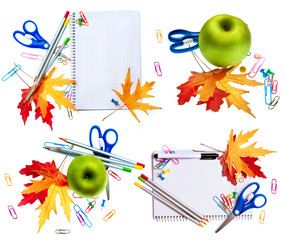 School tools isolated on white background. Back to school