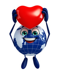 Globe Character with red heart