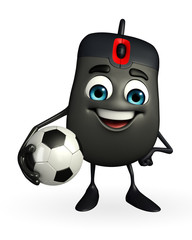 Computer Mouse Character with football