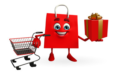 Shopping bag character with gift box