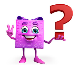 Gift Box Character with question mark