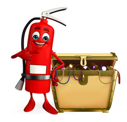 Fire Extinguisher character with treasure box