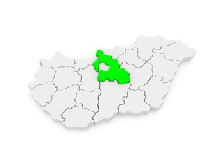 Map of Pest. Hungary.