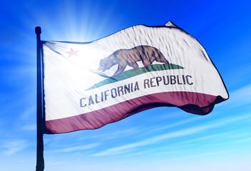 California (USA) flag waving on the wind