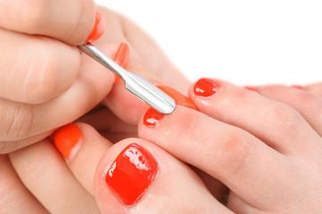 pedicure process macro closeup