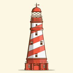 Retro lighthouse isolated on white background. Line art.