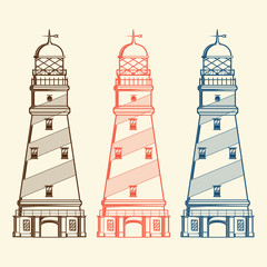 Retro lighthouses set isolated on white background. Line art