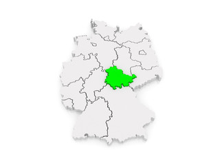 Map of Thuringia. Germany.