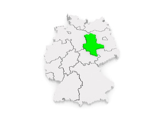 Map of Saxony-Anhalt. Germany.