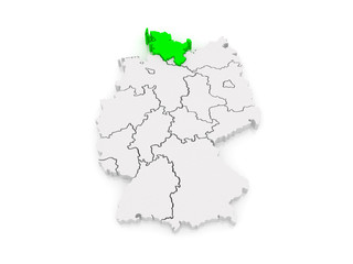 Map of Schleswig-Holstein. Germany.