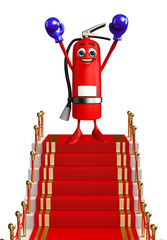Fire Extinguisher character with red carpet