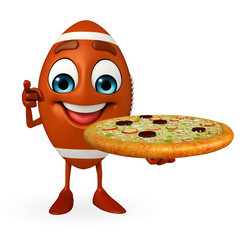 Rubgy ball character with pizza