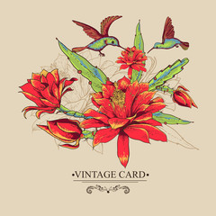 Vintage Card with Red Flowers and Hummingbirds.