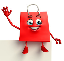 Shopping bag character with sign
