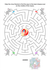 Maze game for kids with mice and cheese