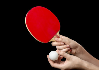 hands with racket and ball for table tennis