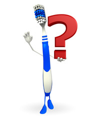 Toothbrush Character with question mark sign