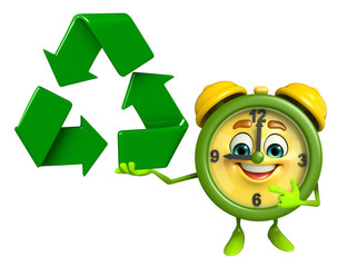 Table clock character with recycle icon