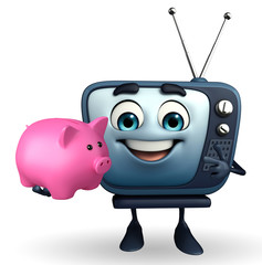 TV character with piggy bank