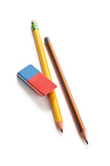 Pencils and eraser isolated on white.
