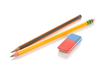 Pencils and eraser. Isolated on white.