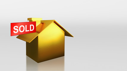 investment gold house with sold sign