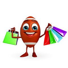 Rubgy ball character with shopping bag