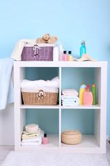 Shelves in bathroom