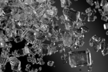 Crystals , black-and-white photo. Extreme closeup. Macro