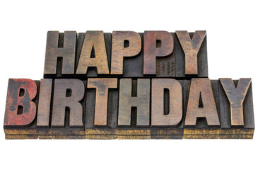 happy birthday in grunge wood type
