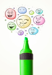 Smiley faces coming out of marker