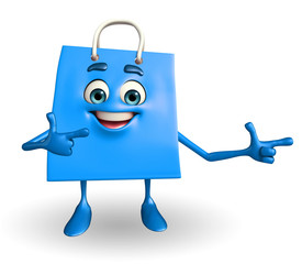 Shopping bag character with pointing pose