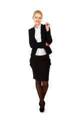 Full-length portrait of a successful businesswoman, isolated on
