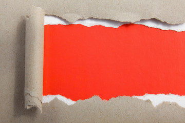 Torn of red paper, isolated