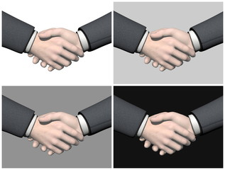 Set of businessman handshake - 3D render